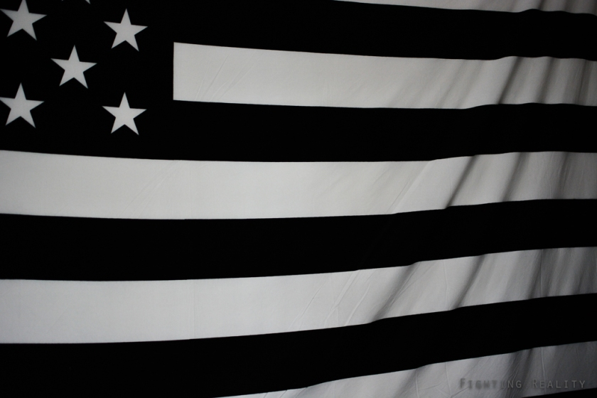 Photographs by Marivic Pinedo Photography, Fighting Reality, American Flag, black and white